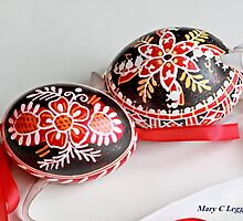 two traditional black Czech Easter eggs with  geometric designs by pogomcl