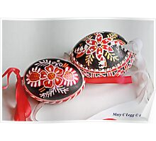 two traditional black Czech Easter eggs with  geometric designs Poster