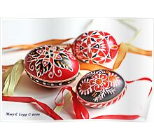 three traditional hand-painted  Czech Easter eggs with geometric designs Poster