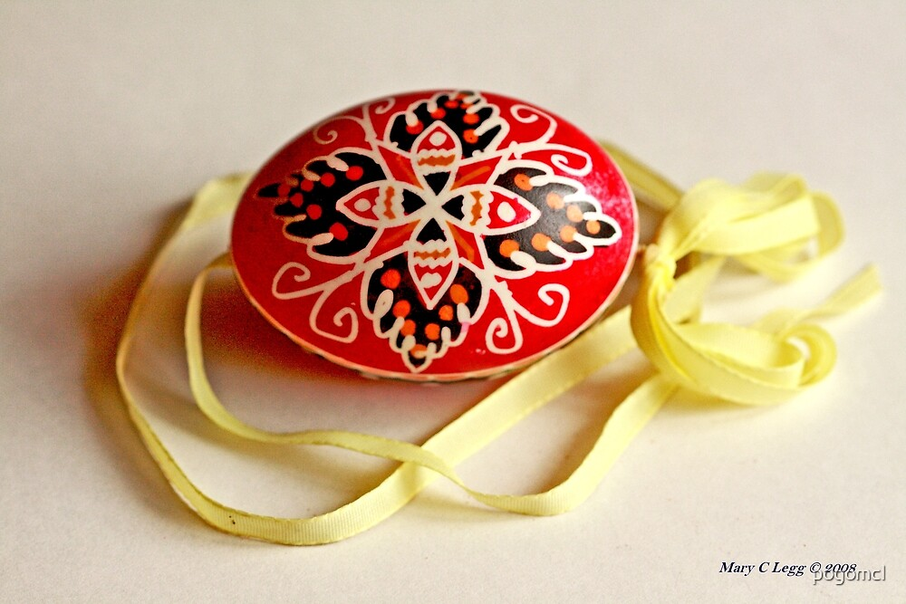 traditional hadndpainted red Czech Easter egg with  black floral design by pogomcl
