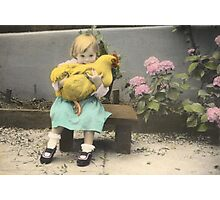 Girl with Chicken Photographic Print