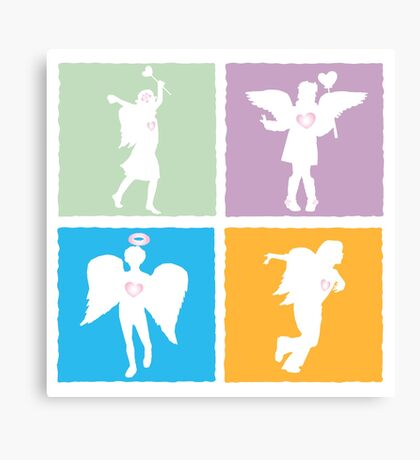 4 kids playing angels Canvas Print