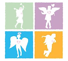 4 kids playing angels Photographic Print