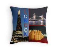 London - Shard, Tower Bridge and Tower of London Throw Pillow