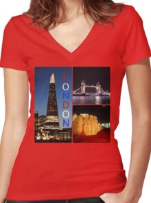 London - Shard, Tower Bridge and Tower of London Women's Fitted V-Neck T-Shirt