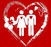 boy and girl with heart and love by catrinel