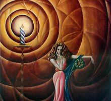 Woman with Candle and Drape by John Entrekin