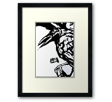 Crow (Ink on watercolor paper) Framed Print