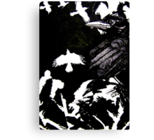 Crows (Drawn on cartridge paper) Canvas Print