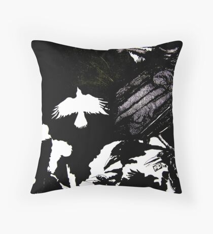 Crows (Drawn on cartridge paper) Throw Pillow