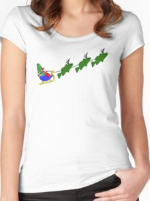 """Santa and his """"Bass Deer"""" Women's Fitted Scoop T-Shirt"""