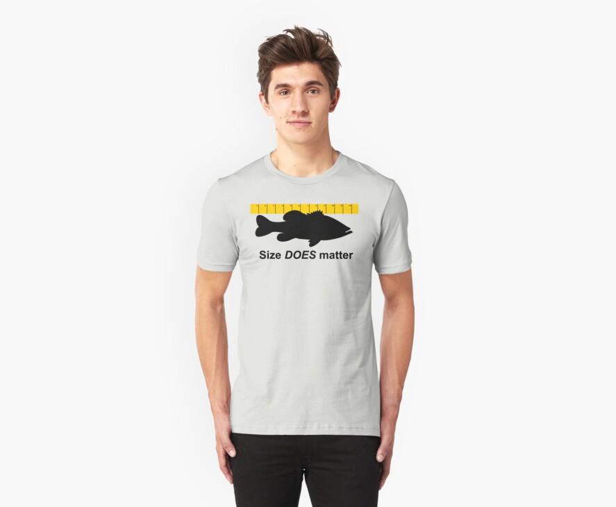 Size does matter - fishing T-shirt by Marcia Rubin