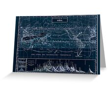 Atlas zu Alex V Humbolt's Cosmos 1851 0160 Histographic Map of the Earth Inverted Greeting Card