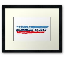 Grungy BMW E30 front end with E30 badge in M colors Framed Print