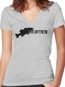 Bass Hunter - Bass fishing t-shirt Women's Fitted V-Neck T-Shirt