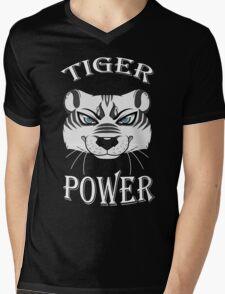 White Tiger Power Mens V-Neck T-Shirt