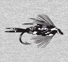 Black Camo Fly - Fly fishing t-shirt One Piece - Long Sleeve