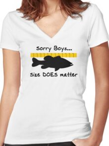 Sorry boys... Size does matter - Fishing T-shirt Women's Fitted V-Neck T-Shirt