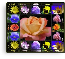 Summer Flowers Collage Featuring Rose Canvas Print