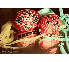 two beautiful red and black hand-painted Czech Easter eggs with  aqua and yellow ribbons Photographic Print