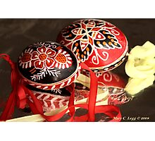 two elaborate red and black hand-painted Czech Easter eggs Photographic Print