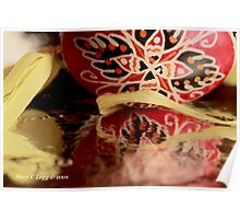 Traditional red and black Czech  Easter Eggs on foil Poster