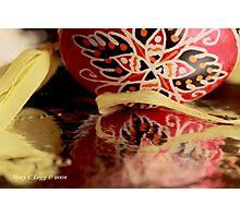 Traditional red and black Czech  Easter Eggs on foil Photographic Print