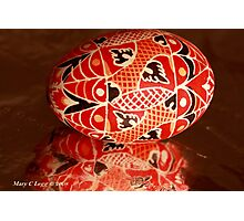 Large red geometrical Czech Easter Egg Photographic Print