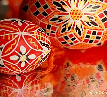 Two red geometrical Czech Easter Eggs by pogomcl