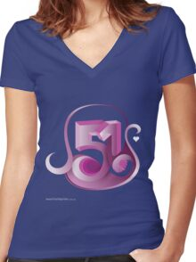 T-Shirt 51/85 (Social Security) by Christos Roussos Women's Fitted V-Neck T-Shirt