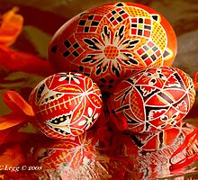Three red and black geometrical Czech Easter Eggs by pogomcl