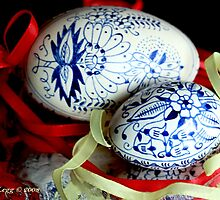 Two blue and white Czech Easter Eggs by pogomcl