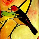 Affinity (Western Tanagers) by Carin Fausett