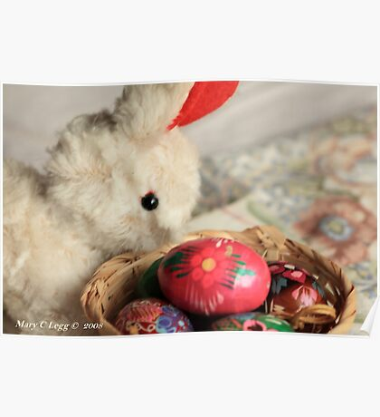 Easter Bunny inspects a basket of hand-painted wooden Czech Easter eggs Poster