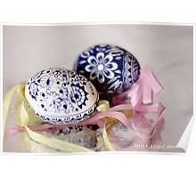 White egg, blue Czech Eggs Poster