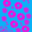 Bright pink Flowes on Turquoise by Melissa Park