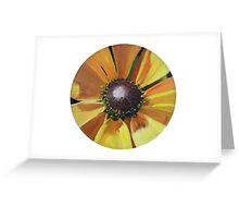Sunflower - Oil on vinyl record Greeting Card