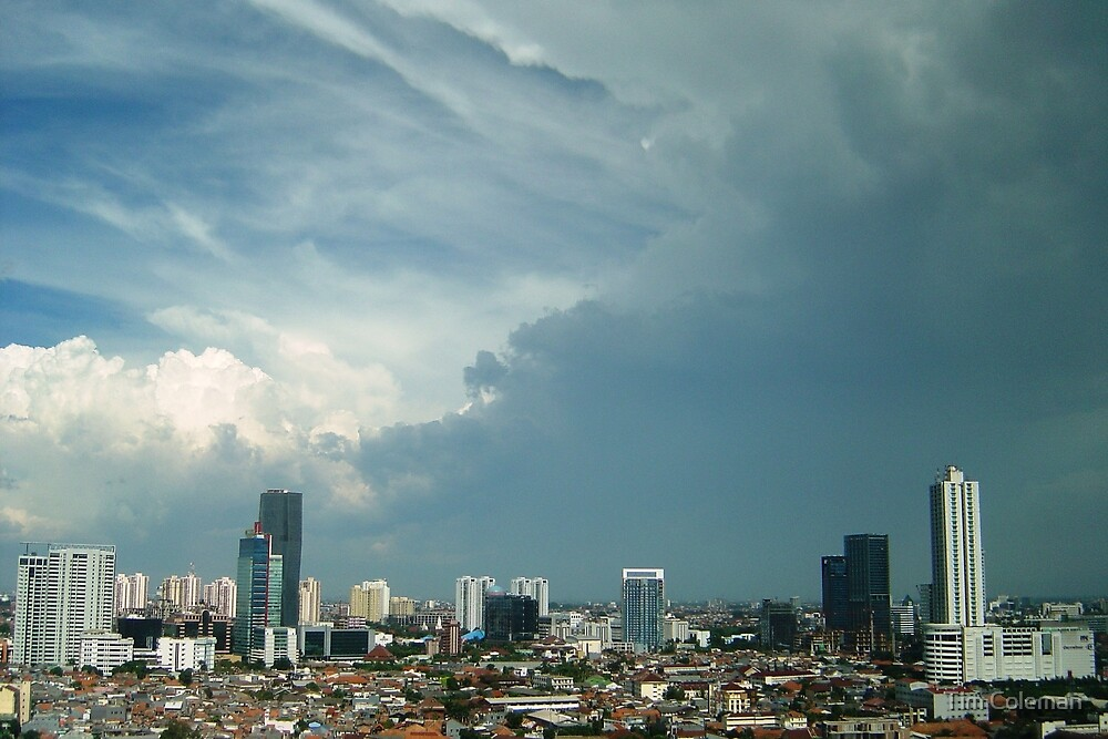 A tropical storm moves over the city by Tim Coleman