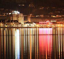 Kelowna Waterfront at night one by Santa Tom Kliner