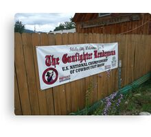 Cowboy Fastdraw Competition Sign. Canvas Print