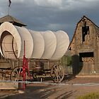 Old Covered Wagon with Red Water Pump and Wheel. by Mywildscapepics