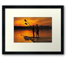 Father and son boating at Penrith NSW Framed Print