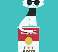 The cat loves Andy Warhol by Budi Kwan