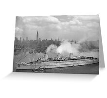 RMS Queen Mary Arriving In New York Harbor Greeting Card
