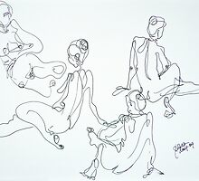 4 sketches of the same pose by pobsb