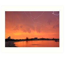 Sunset Lightning Koombana Bay Bunbury WA 22-3-10 Art Print