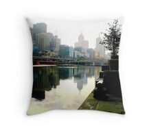 Misty Reflections in Yarra River of Melbourne City. Vic. Aust. Throw Pillow