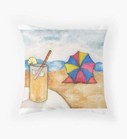 Beach Scene - Watercolor Throw Pillow