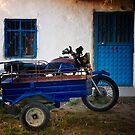 Blue Door, Window, And Bike With Sidecar In A Turkish Village by Josh Wentz