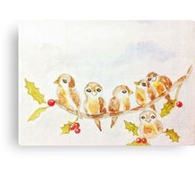 Birds on a Tree Limb with Holly Leaves Berries Canvas Print